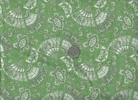 Oriental Hand Fan Floral Leaf Green Crafting Quilting Cotton Fabric YOUR LENGTH