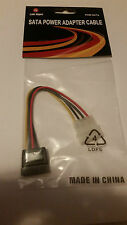 """NEW 4-PIN IDE MOLEX MALE TO 15-PIN SATA FEMALE POWER CABLE 8"""" LENGTH"""