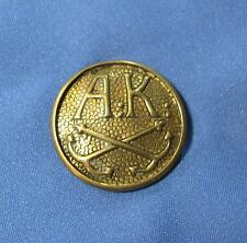 Vintage A K Two Crossed Anchors Textured Goldtone Brass Metal Round Shank Button