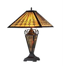 "Tiffany Style Stained Glass Mission 3 Light Double Lit Table Lamp 16"" Shade New"