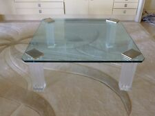 INCREDIBLE 70'S HIGH END LUCITE BRASS AND GLASS FLUTED COLUMN COFFEE TABLE P