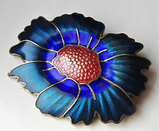 VINTAGE BEAUTIFUL CLOISONNE BLUE TEAL ORANGE ENAMEL FLOWER SILVERTONE BROOCH PIN