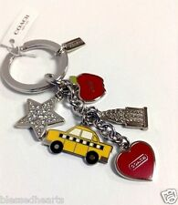 COACH Key Ring  New York City Taxi Star Heart Empire State Key Chain 69936 Red