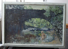 "Stunning Landscape Oil Paintings on board""Boy Under Bridge""Signed by Artist '89"