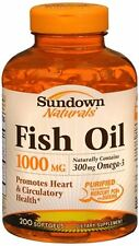 Sundown Fish Oil 1000 mg Softgels Cholesterol Free 200 Soft Gels