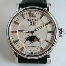 Stylish Sea-Gull M308S white dial ST2528 moonphase automatic watch