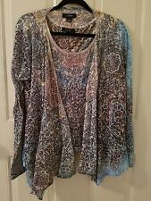 Kaktus Blouse & Cami Shirt Top 2 Piece Sheer Set Gypsy Boho Multi Color Hippie