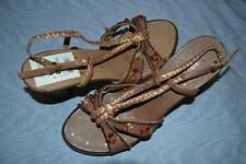 KENZIE BROWN LEATHER $75 EMBELLISHED STRAPPY HEELS, SIZE 9 ½ M, NEW