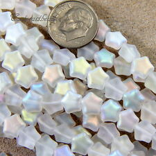 Star Beads, Czech Pressed Glass, White w/Matte AB Finish, 8mm, 25 Pieces, 001