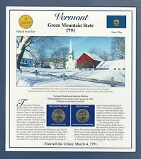 2001 VERMONT STATE QUARTERS & STAMPS PANEL...POSTAL COMMEMORATIVE SOCIETY