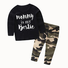 Toddler Kid Baby Boy Clothes Set Letter Print Tops +Camouflage Pants Outfits Set