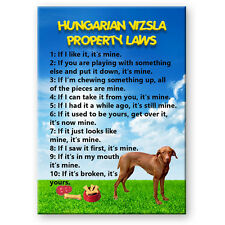 HUNGARIAN VIZSLA Property Laws FRIDGE MAGNET Steel Cased DOG