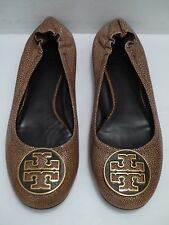 TORY BURCH Reva coconut brown stingray logo detail ballet flats size 10