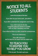 Notice to all Students Classroom Rules Poster Poster Print, 13x19