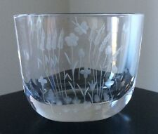 Vintage Mid-Century Signed ORREFORS Etched Crystal Glass Butterflies Wheat Vase