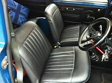 CLASSIC MINI FRONT AND REAR SEAT COVER SET IN BLACK INC HEADREST COVERS