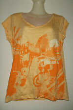 OXBOW D1DAJI TEE-SHIRT FROISSE MANCHES COURTES COL V TAILLE 4 JAUNE ORANGE