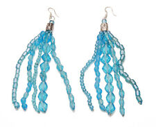 ORIGINAL DROP BEAD EARRINGS CLEAR BLUE SKY FOR ECCENTRIC SELF EXPRESSION, ZX28