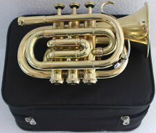 """Deal ! TRUMPET POCKET Bb SHINNING BRASS""""WITH BAG 7C MOUTH PIECE FAST SHIP 150116"""
