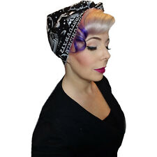 Spellbound Bows Ouija Double Wide Head Wrap Black Occult Goth Psychobilly