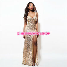 Woman Sequin Plunge V-neck Sleeveless  High Slit Cocktail Prom Maxi Long Dress