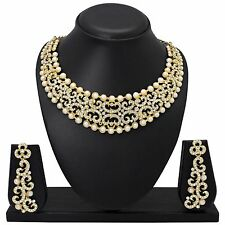 Bollywood Fashion Ethnic Gold Plated Diamond&Pearl Necklace Earring Jewelry  set