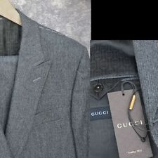 GUCCI New sz 58 - 48 R Auth Designer Mens 2 Button Heritage Peak Wool Suit Gray