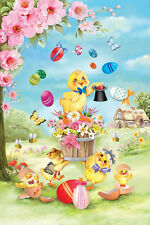 #60 EASTER CHICK MAGIC  EGGS  FLOWERS LARGE DECORTIVE HOUSE FLAG 28X40 BANNER