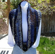 SCARF INFINITY LOOP Blue White Brown Striped Handmade Crochet Knit Circle Cowl