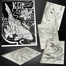A4 Size 24 Pages KOI Series Flash Design Outline Manuscript Sketch Tattoo Book