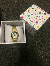 NEW 4pc Gold Tone Women's Leather Strap Watch Black Polka Dot Face+Gift Box