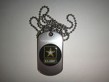 US ARMY Raised Insignia Stainless Steel Dog Tag + Ball Chain *Unused*