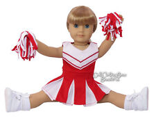 3 Piece Set Red Cheerleader Outfit for American Girl Doll Clothes