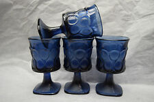 Noritake Colbalt Blue Spotlight Wine Glasses - 4 1/2 inches tall - Square Bottom