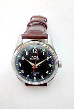 HMT Sainik  Authentic Vintage mechanical Wrist watch, Black Dial, Brown Strap
