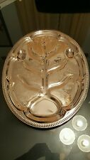 Vintage Silver Footed Tree Well Ornate Turkey Platter Serving Tray.