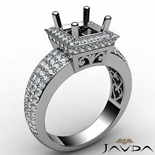 4 Row Diamond Engagement Halo Filigree Ring Princess Semi Mount Platinum 1.65Ct