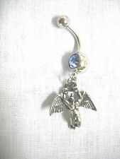 NEW USA PEWTER SWAN SONG CELTIC ANGEL CHARM ON BABY BLUE CZ BELLY BAR NAVEL RING