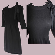 *ZARA*Black Ribbed Knitted Round Neck 3/4 Sleeve Comfortable Mini Tunic Dress L