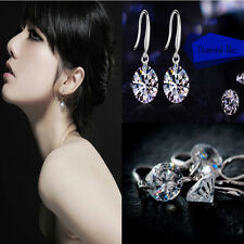 Moda Blanco Rhinestone AAA  Pendientes Aretes Ear Stud Earrings Mujer Regalo