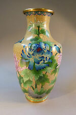 Cloisonne Vase Emaille Metall Messing Zellenemaille China um 1900 groß 38 cm