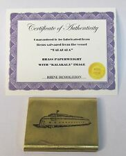 KALAKALA FERRY BRASS larger flat PAPERWEIGHT salvaged from boat WITH certificate