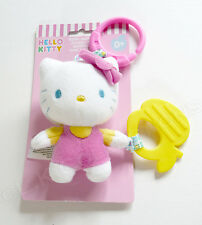 Hello Kitty Plush Baby Teether Rattle Yellow Pink Cute! NIP Sanrio HK38011