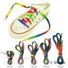 Rainbow Shoelaces Flat Fat Shoe Laces Bootlaces Adult / Kid 60/80/100/120/150 cm