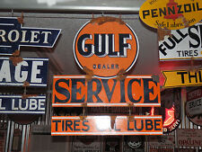 Antique style vintage vintage Gulf dealer large 2 piece dealer service gas sign