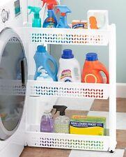 White Slim Rolling Storage Cart Bath Laundry Space Saver Small Shelves Rack
