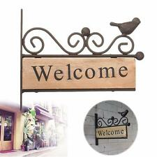 Vintage Wood Iron Welcome Plaque Sign Bird For Shop Bar Cafe Office Home Decor