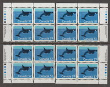 CANADA #1173i 57¢ Killer Whale Matched Set of Plate Blocks Harrison Paper MNH