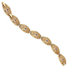 "Jacqueline Kennedy 24k Gold Finish Crystal Art Deco Bracelet 7"" with 1"" Ext"