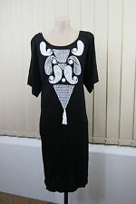 NWT Size S / M Briony Marsh Ladies Black Shift Dress Casual Boho Chic Beach Wear